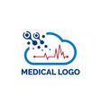 cloud computer digital logo design with medical vector image vector image