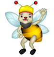 cute bee cartoon thumb up vector image vector image