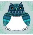 Cute owl with ethnic ornament text box vector image vector image