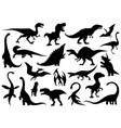 dinosaur silhouettes set dino monsters icons vector image