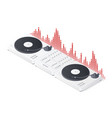 dj mixer panel turntables and wave equalizer vector image vector image