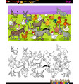 donkeys and chickens characters color book vector image vector image