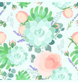floral flat pastel color seamless pattern vector image