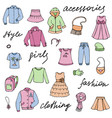girl clothes and lettering doodle set vector image