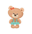 girly teddy bear with pink cheeks and shiny eyes vector image