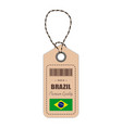 hang tag made in brazil with flag icon isolated on vector image vector image