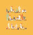 happy llama with cactus in a pot vector image vector image