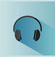 headphones icon on a blue background with shade vector image