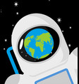 helmet astronaut and planet earth reflection vector image vector image