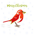 holiday greeting card with cute robin bird vector image