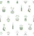 home flowers in pots with green patterns vector image vector image