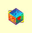 inscription love lettering in 3d cube purple vector image