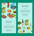 isometric hotel icons web banner templates vector image vector image