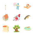 little town icons set cartoon style vector image vector image