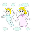 lovely angels boy and girl fly in clouds vector image