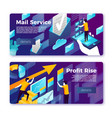 mail service and profit rise banners set vector image