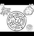 maze with ufo coloring page vector image vector image
