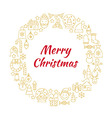 Merry Christmas Gold Line Art Icons Circle vector image vector image