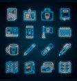 office equipment neon light icons set business vector image