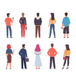 people back view men women in casual vector image