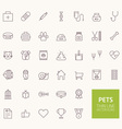 Pets Outline Icons for web and mobile apps vector image vector image