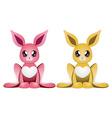 Pink and yellow rabbits vector image vector image
