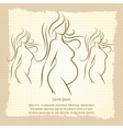 Pregnant woman silhouettes vintage poster vector image vector image