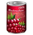 Raspberry juice in aluminum can vector image vector image