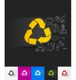 recycle sign paper sticker with hand drawn vector image
