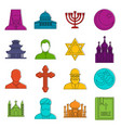 religious symbol icons doodle set vector image