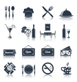 Restaurant icons set black vector image vector image