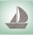 sail boat sign brown flax icon on green vector image vector image