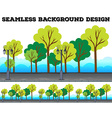 Seamless background design with trees and lamps vector image vector image