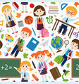 seamless pattern with pupils and school supplies vector image vector image