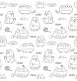 seamless texture with kawaii cat vector image vector image