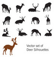 set of deer silhouettes vector image vector image