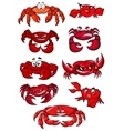 Set of red cartoon marine crabs vector image vector image