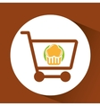 Shopping Cart with muffins vector image vector image