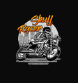 skull racer classic vintage motorcycle vector image