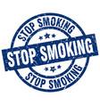 stop smoking blue round grunge stamp vector image vector image