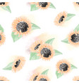 watercolor yellow sunflower seamless pattern vector image