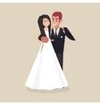 Wedding couple hugging Happy bride vector image