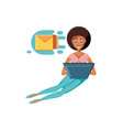 woman black sitting with laptop and envelope mail vector image vector image