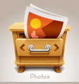 wooden drawer for photos icon vector image