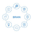 8 brain icons vector image vector image