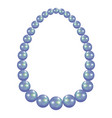blue pearl necklace mockup realistic style vector image vector image