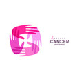 breast cancer care card pink hands for support vector image vector image
