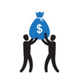 business team success hold big money bag vector image