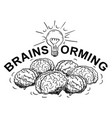 cartoon of brainstorming logotype with group of vector image