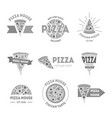 cartoon silhouette black pizzeria signs set vector image vector image